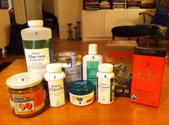 hälsokost, holistic, kokosolja, chlorella, D-vitamin, Weleda, body lotion, drakens te